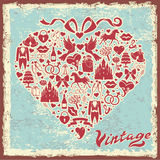 Vintage design template with wedding item in hearts composition Royalty Free Stock Photos