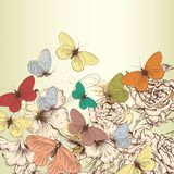 Vintage design with vector hand drawn flowers and butterflies Stock Image