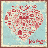 Vintage design with wedding item in hearts composition Royalty Free Stock Photo