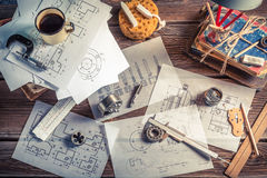 Vintage designer desk of mechanical parts stock images