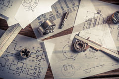 Vintage designer desk of mechanical parts stock photography