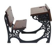 Vintage Desk With Scrolled Sides. Vintage wooden desk with intricate metal scrolled sides - path included Stock Image