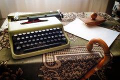 Vintage desktop with an old typewriter royalty free stock photo