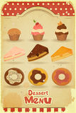 Vintage Dessert Menu. Pastry on retro background - illustration Royalty Free Stock Images