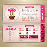 Vintage dessert menu design. Sweet cupcake. Chalk drawing dessert menu design. Sweet cupcake Royalty Free Stock Photo
