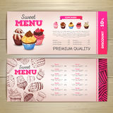 Vintage dessert menu design. Sweet cupcake. Chalk drawing dessert menu design. Sweet cupcake Stock Images