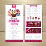 Vintage dessert menu design. Sweet cupcake. Chalk drawing dessert menu design. Sweet cupcake Royalty Free Stock Photography