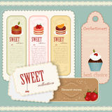 Vintage Dessert menu - set of labels. Illustration Royalty Free Stock Photography