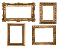 Vintage Detailed Gold Empty Picure Frames stock photos