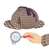 Vintage detective checkered hat and fingerprint under. Magnifier in human hand with jacket sleeve isolated vector illustrations on white background Royalty Free Stock Photography