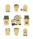 Vintage detective gentlemen characters Stock Photo