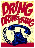 Vintage dial phone ringing loudly pop art comics style vector illustration Royalty Free Stock Photo