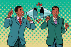 Vintage a dialogue between two people, campaigning politics. And preaching. pop art retro illustration. African American businessman royalty free illustration