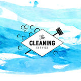 Vintage diamond badge for cleaning service with Stock Images