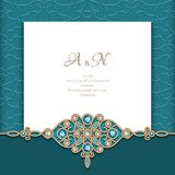 Vintage emerald background with jewellery border. Vintage emerald background with diamond jewelry border pattern, elegant greeting card or wedding invitation royalty free illustration