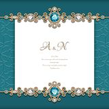 Vintage diamond jewelry background. With swirly gold borders, elegant announcement or wedding invitation card template vector illustration