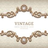 Vintage diamond jewelry card, flourish decoration. Vintage card with diamond jewelry decoration, gold flourish frame, elegant vignette, wedding invitation or Stock Illustration
