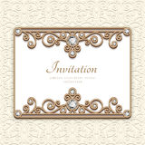 Vintage diamond jewelry card, invitation template. Vintage gold frame, diamond jewelry card with filigree flourish border decoration vector illustration