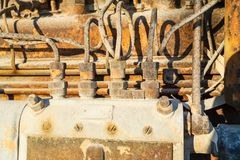 Vintage diesel engine parts Royalty Free Stock Photography