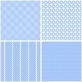Vintage different  seamless patterns. Set of blue geometric ornament Royalty Free Illustration