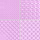 Vintage different  seamless patterns. Set of pink geometric ornament Stock Illustration
