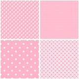 Vintage different seamless patterns. Shabby pastel colors Stock Photos