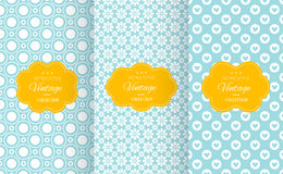 Vintage different vector seamless patterns. Stock Photography