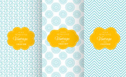 Vintage different vector seamless patterns. Stock Image