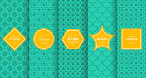Vintage different vector seamless patterns. Royalty Free Stock Images