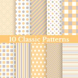 Vintage different vector seamless patterns. 10 Vintage different vector seamless patterns. Set of monochrome geometric ornament Royalty Free Stock Photos