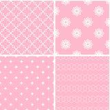Vintage different vector seamless patterns. Set of pink geometric ornament Vector Illustration