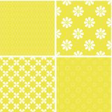 Vintage different vector seamless patterns. Set of yellow geometric ornament Royalty Free Illustration