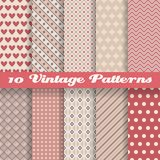 Vintage different vector seamless patterns Royalty Free Stock Photography