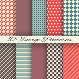 Vintage different vector seamless patterns. 10 Vintage different vector seamless patterns (tiling). Set of monochrome geometric ornament Royalty Free Stock Image