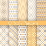 Vintage different vector seamless patterns. 10 Vintage different vector seamless patterns (tiling). Set of monochrome geometric ornament. Red and beige shabby Stock Photography