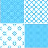 Vintage different vector seamless patterns. Set of bluegeometric ornament Vector Illustration