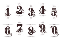 Vintage digits and numbers. Set with dividers isolated on white background Royalty Free Stock Photo