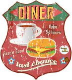 Vintage diner sign Stock Photos