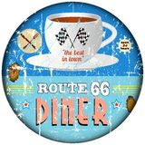 Vintage diner sign,. Route 66 vintage diner sign, nostalgic grungy style, vector eps Royalty Free Stock Photography