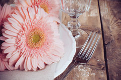 Vintage dining table setting Stock Images