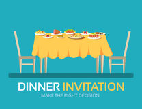 Vintage dinner table with many food in flat design background concept. Icons for your product or illustration, web and Royalty Free Stock Photos