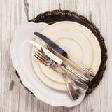 Vintage dinnerware, plates, dish Stock Photo