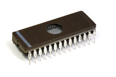 Vintage DIP 28 pin EPROM over white Stock Photos