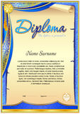 Vintage diploma blank template. Vintage diploma template. Curtain detail and gold plated element in the corner stock illustration