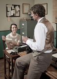 Vintage director and secretary working in the office Royalty Free Stock Photos