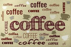 Coffee poster. Vintage dirty  scratched poster with coffee cups and text Stock Images