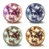 Vintage disco mirror ball collection set. Vintage disco mirror ball collection isolated on white background royalty free stock images