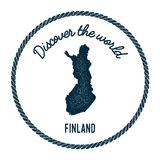 Vintage discover the world rubber stamp with. Vintage discover the world rubber stamp with Finland map. Hipster style nautical postage stamp, with round rope Stock Images
