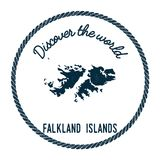Vintage discover the world rubber stamp with. Vintage discover the world rubber stamp with Falkland Islands Malvinas map. Hipster style nautical postage stamp Stock Image