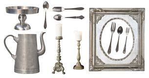 Vintage dishes. Old spoon, fork, knife, kettle, frame isolated on white background.  royalty free stock images
